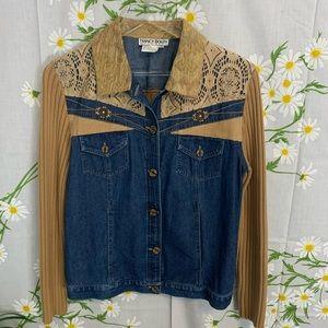 Vintage denim sweater patchwork jacket